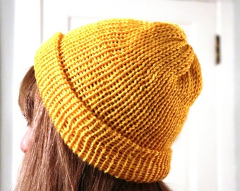 Knit Hat - Mustard Winter Hat - Knit Slouchy Hat - Yellow Beanie Winter - Knitted Hat Gold - Adjustable Hat One Size - Winter Accessories