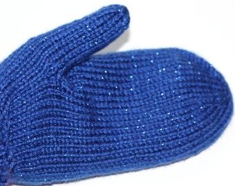 Sparkle Blue Knit Mittens
