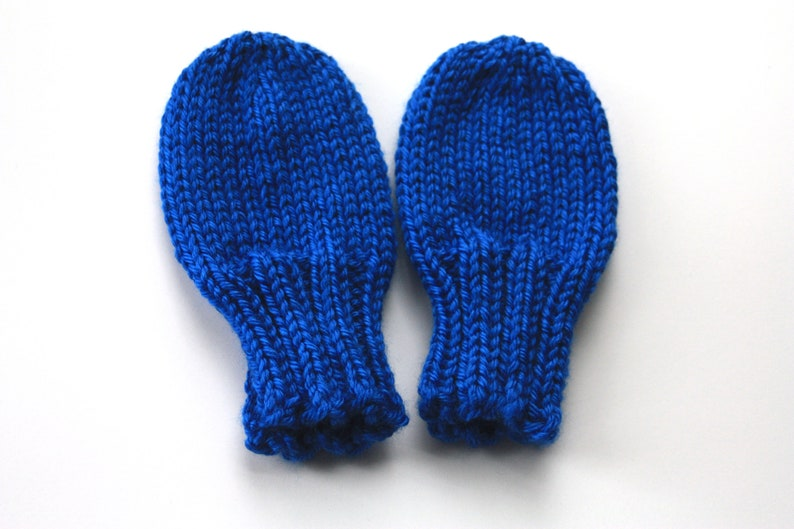 Knit Baby Mittens Mittens for Toddlers Royal Blue Baby image 0
