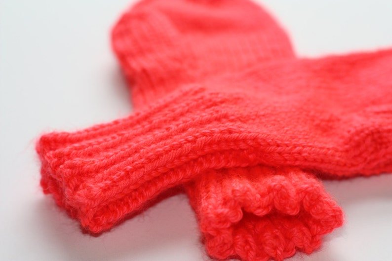 Neon Coral Knit Mittens  Adult Knit Mittens  Knitted Mittens image 0