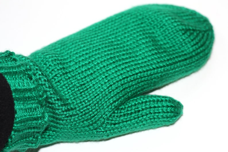 Knit Kelly Green Mittens  Adult Mittens  Green Adult Mittens image 0