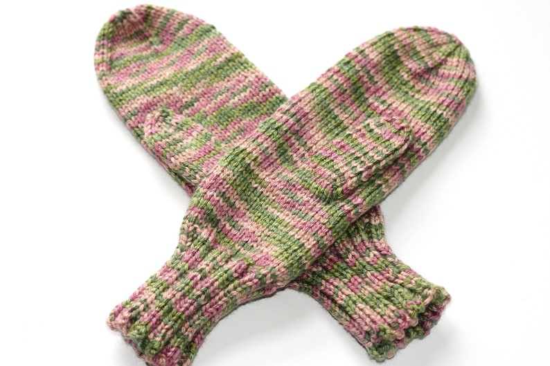 Adult Mittens  Pink & Green Knit Mittens  Striped Womens image 0