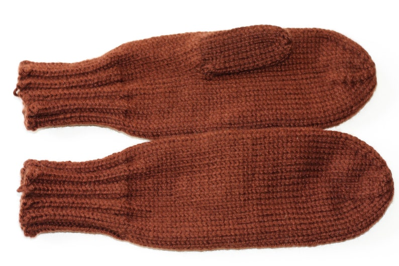 Knit Mittens Brown Mittens Adult Mittens Mittens for Women image 0