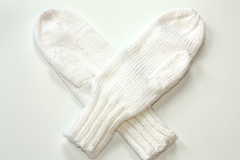 White Mittens for Adults  Traditional Mittens  Old Fashioned image 0