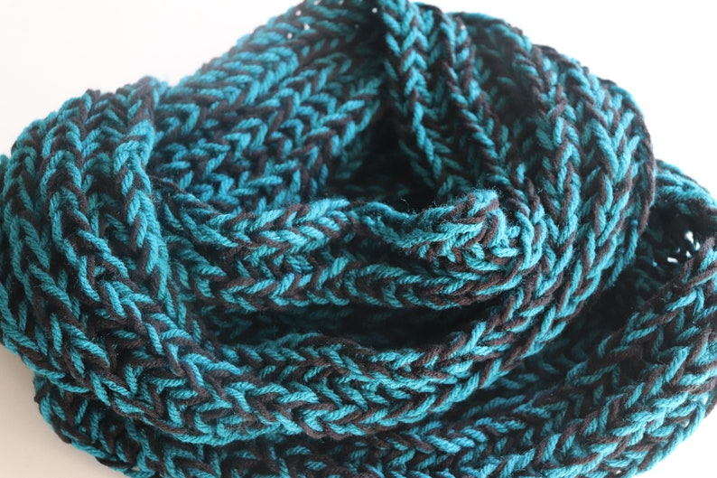 3 Colors  Two-Tone Infinity Scarves for Women Knit Scarf Blue