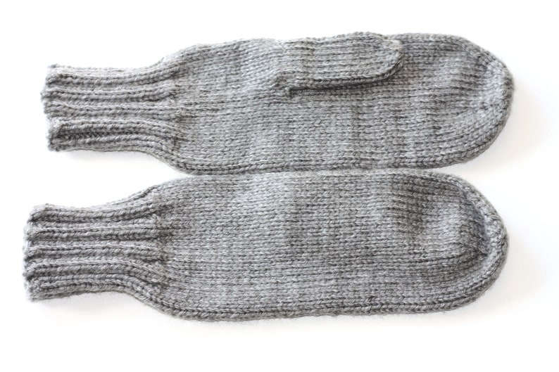 Knit Mittens  Adult Mittens  Gray Knit Mittens  Ladies Knit image 0