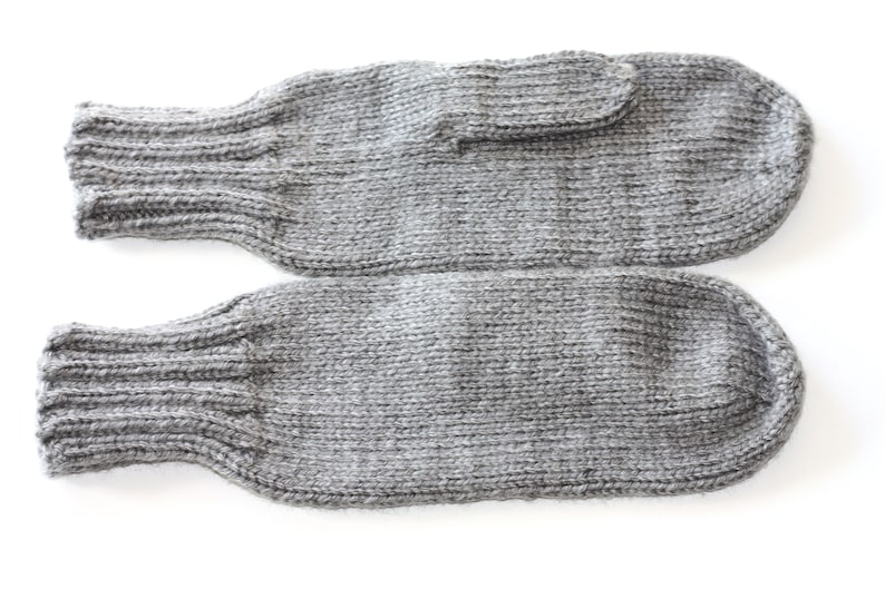 33f2a9588 Knit Mittens Adult Mittens Gray Knit Mittens Ladies Knit | Etsy