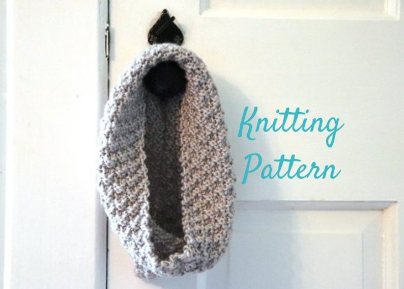 Cowl Knitting Pattern  Double Moss Cowl Pattern  Pattern for image 0