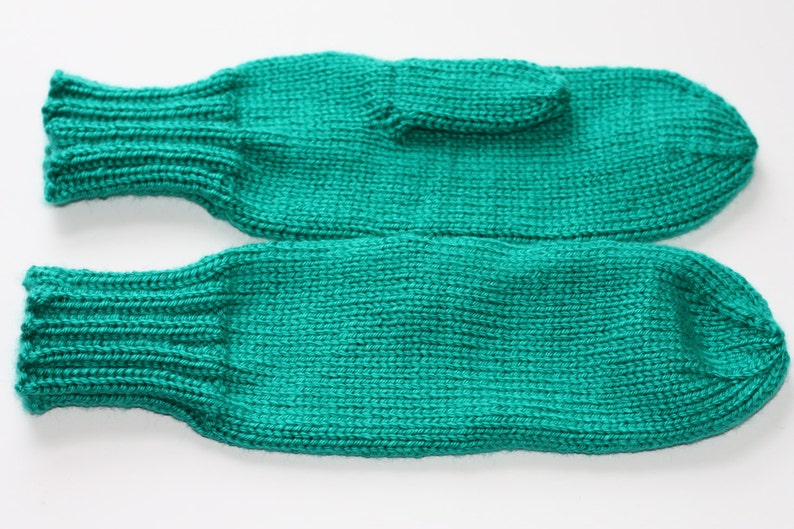 Knit Adult Mittens  Cool Green Mittens for Women  Emerald image 0