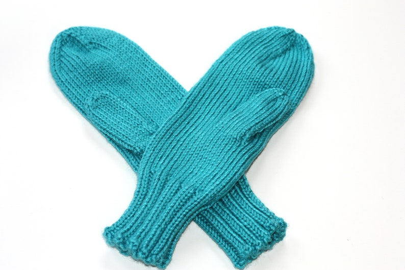 Knit Mittens  Blue Adult Mittens  Blue Mint Mittens for image 0