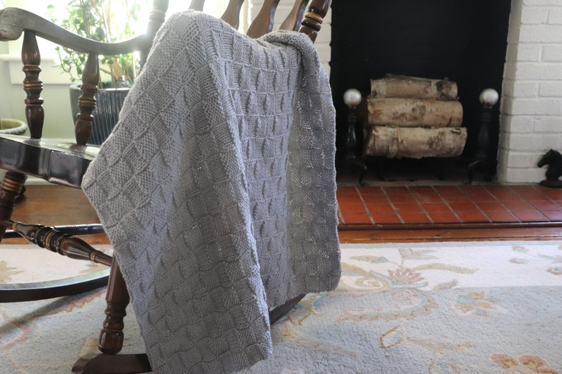 Gray Baby Blanket Grey Baby Afghan Gray Knitted Blanket image 0