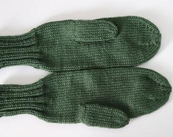 Green Mittens for Adults - Dark Green Ladies Mittens - Dark Sage Knit Mittens - Green Mittens - Green Winter Accessories