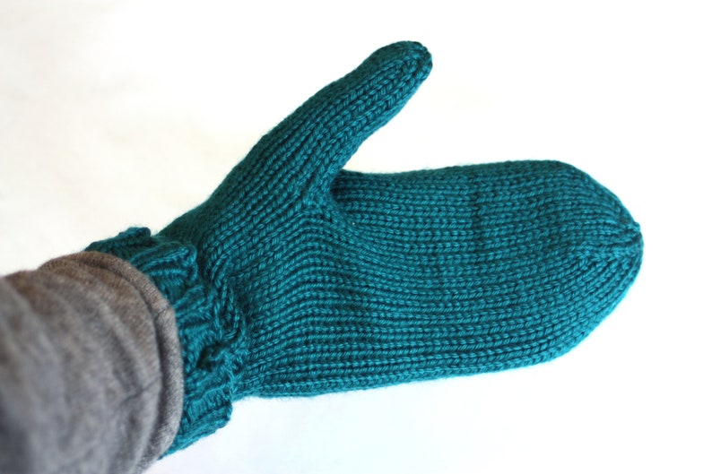Teal Mittens for Adults  Traditional Mittens  Old Fashioned image 0