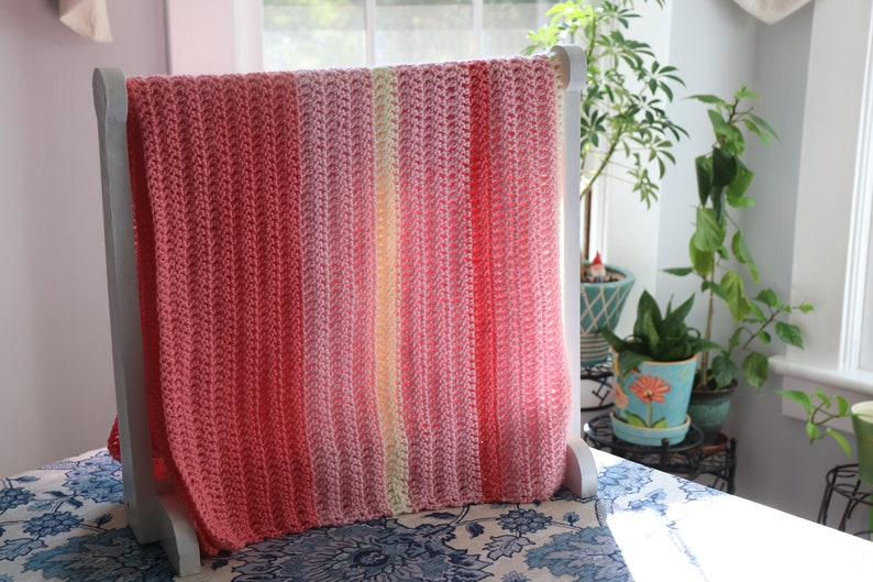 Pink Striped Baby Blanket Pink Baby Afghan Pink Knitted image 0