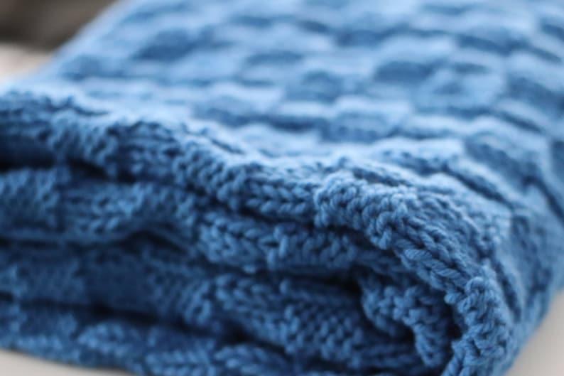 Blue Baby Blanket Blue Baby Afghan Blue Knitted Blanket image 0