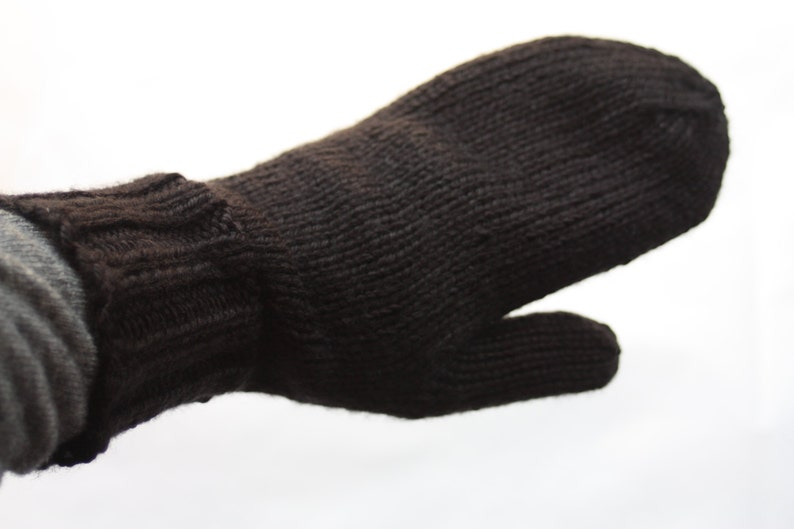 Black Mittens for Adults  Traditional Mittens  Old Fashioned image 0