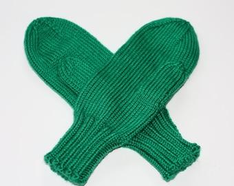 Knit Kids Mittens - Kelly Green Mittens for Kids - Kids Green Mittens on a String - Knit Mittens for Children - Kids Winter Mittens