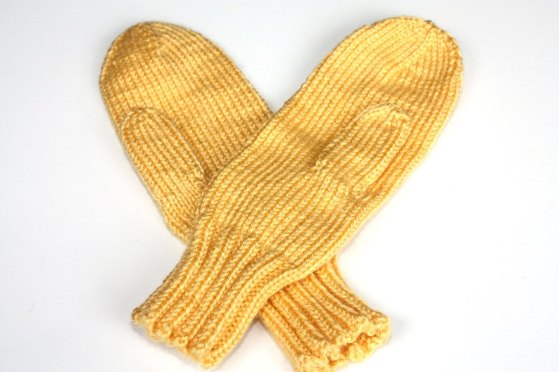 Knit Mittens Yellow Adult Mittens Sunshine Mittens for image 0