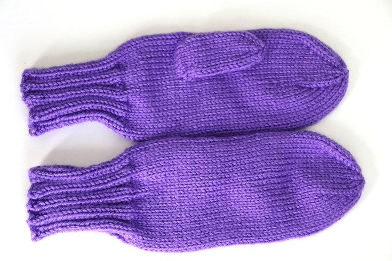 Knit Mittens Ladies Purple Mittens Grape Knitted Mittens image 0