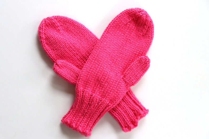 Knit Kids Mittens  Watermelon Pink Mittens for Kids  Hot image 0