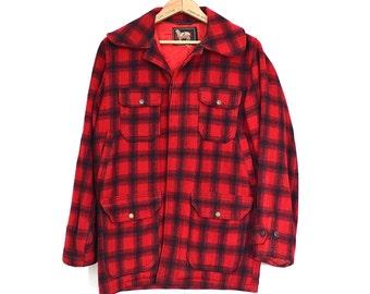 0f9179737dcb9 Woolrich Plaid Jacket - 50s Vintage Wool Shadow Plaid Coat - Lumberjack  Hunting Outdoorsy Plaid Wool Jacket