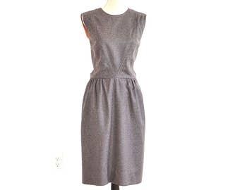 60s Grey Wool Dress - Vintage 60s Shift - Wool Sleeveless Jumper Dress - Classic 60s Secretary Dress - Wool Fitted Jumper