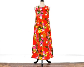 d5f912a22930 Vintage Hawaiian Dress - 60s Boho Tropical Hawaiian Maxi Dress - 1960s A  Line Long Floral Sundress - Sears Tiki Tourist Hawaiin Dress