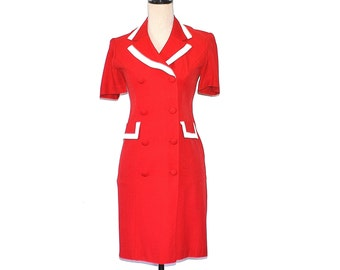 Red Fitted Dress - Vintage 80's Military Style Spring or Summer Dress - 80's  Petite Sophisticate 50's Rayon Dress