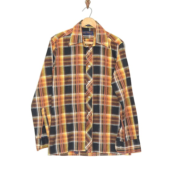 Madras Plaid Shirt - 70s Plaid Shirt - Vintage Pla
