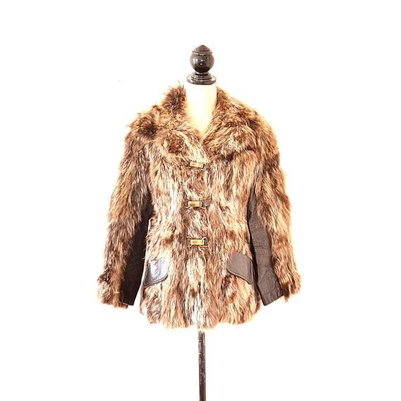70s Fur Coat - Vintage Fur And Leather Panel Coat
