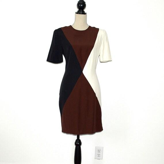 Color Block Dress - 80s Vintage Secretary Dress -