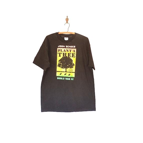 90s John Denver T shirt - John Denver Tour Tee - V