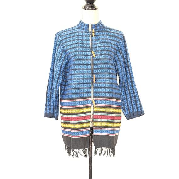 Mexican Jacket - Vintage 50s/60s Woven Coat - Fol… - image 2
