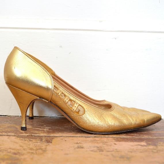 50's Metallic Gold Pumps - Vintage Shiny Gold Leat