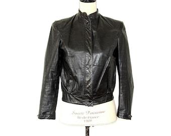 Black Leather Jacket - 70s Leather Cafe Racer Jacket - Black Biker Rocker Bomber Leather Coat - Cropped Black Leather Bad Girl Jacket XS