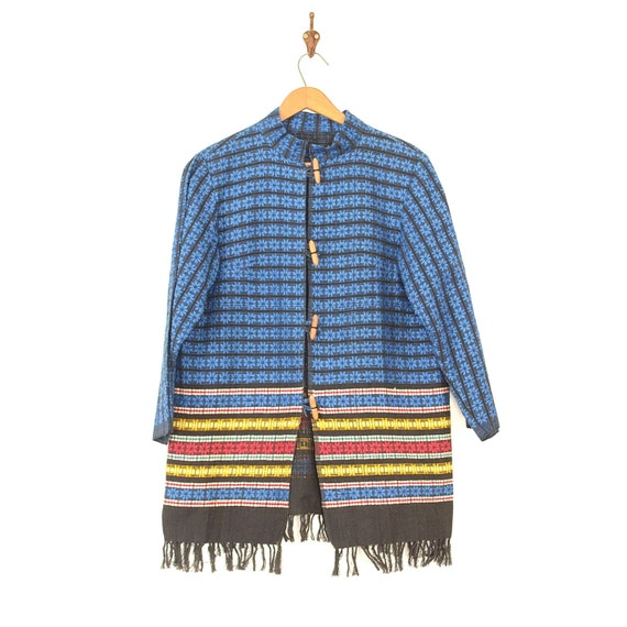 Mexican Jacket - Vintage 50s/60s Woven Coat - Fol… - image 1