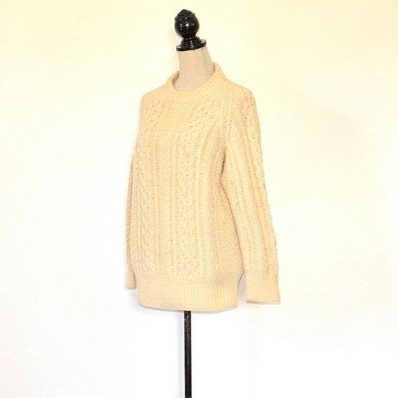 Vintage Fishermans Sweater - 50's Womens Aran Kni… - image 2