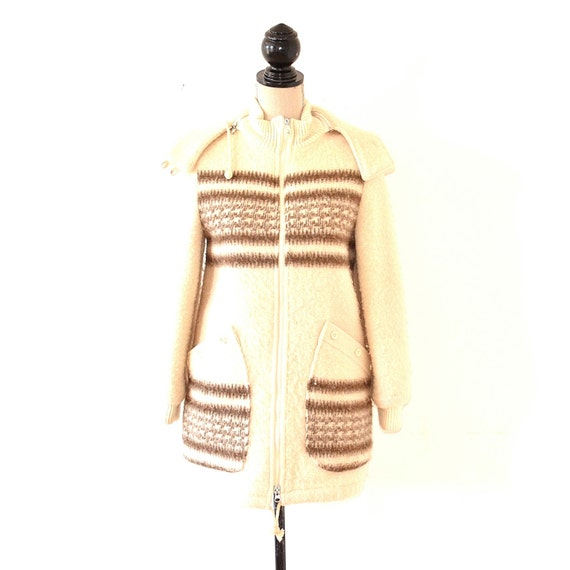 wool hooded parka coat boho nordic style winter coat 70s. Black Bedroom Furniture Sets. Home Design Ideas