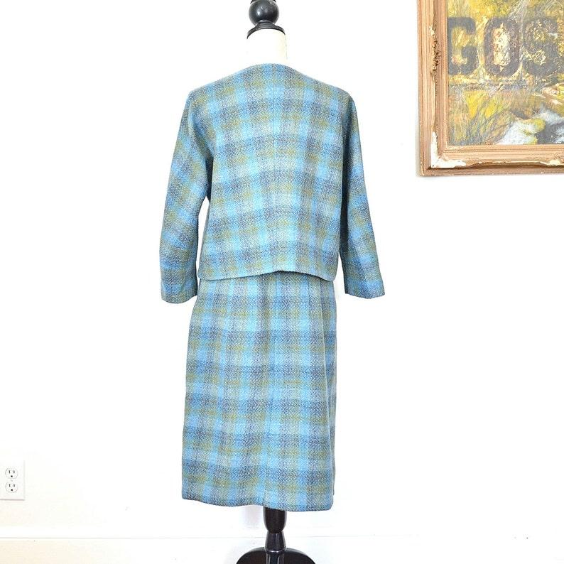 Womens Wool Suit 1960/'s Two Piece Skirt and Jacket Vintage Secretary Style Suit Tartan Tailored Ladies 2 Piece Mid Century Skirt Suit