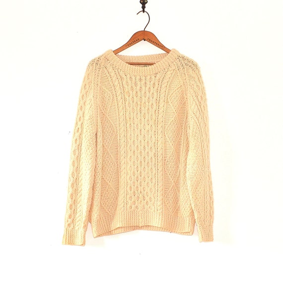Fisherman Sweater - 80s Hand Knit Irish Wool Sweat