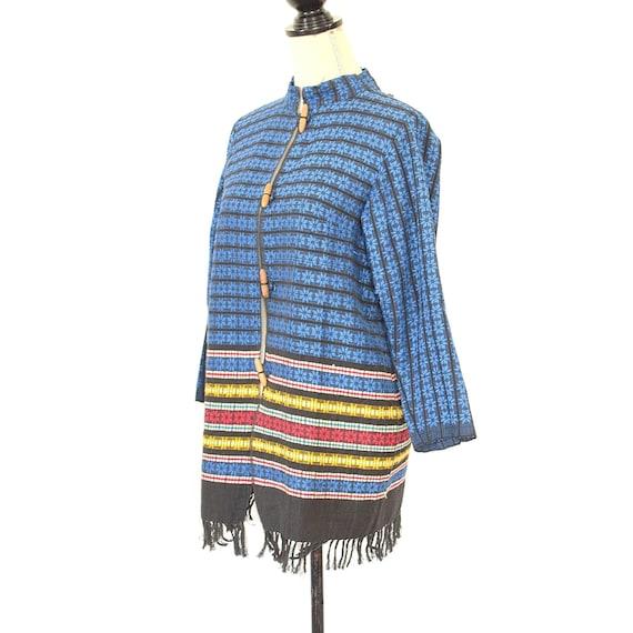 Mexican Jacket - Vintage 50s/60s Woven Coat - Fol… - image 3