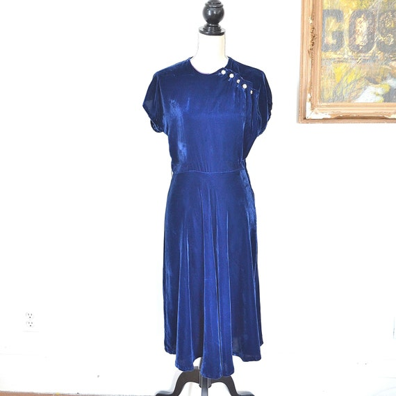 20's Velvet Dress -1920's Elegant Flapper Blue Vel