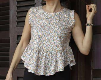 "Cotton blouse peplum ""Kami"" s/M"