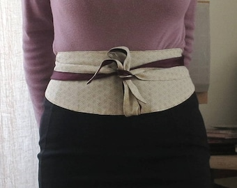"Adjustable reversible Obi belt with Japanese cotton and silk ""Classy"""