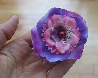 """Mind"" fabric flower barrette clip"