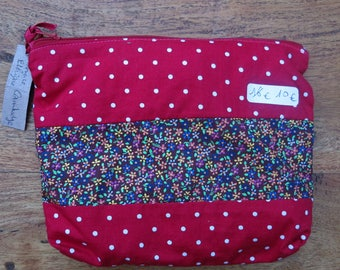 "Multi-purpose pouch ""Isadora"" red patchwork cotton"