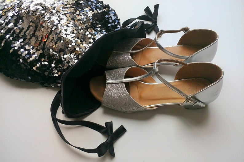 Jet Black /& Silver Sequin Dance Shoe Bag