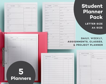elemental student daily planner pdf a4 letter student etsy