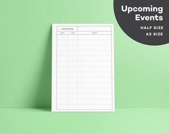 Elemental Upcoming Events List - A5 - Minimalist Planner - Modern Design Agenda Printable - PDF - Events Organizer - Important Dates
