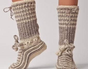 Wool Slippers, Handknit Wool Socks, Warm, Soft, Tall Knitted Socks, Women's Slippers: Valentina